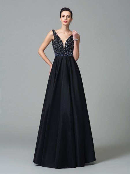 A-Line/Princess Beading Floor-Length Straps Sleeveless Taffeta Dresses