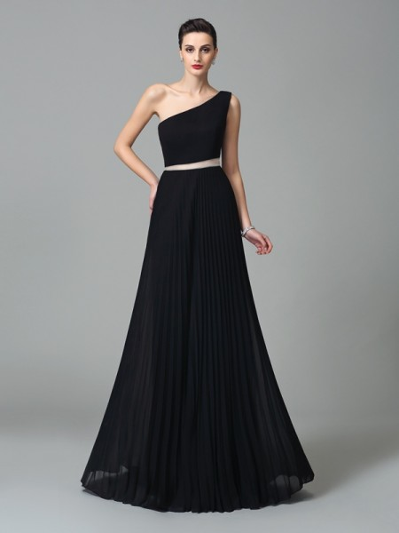 A-Line/Princess Pleats Floor-Length One-Shoulder Sleeveless Chiffon Dresses
