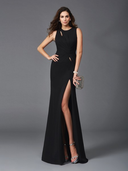 Sheath/Column Beading Floor-Length Scoop Sleeveless Chiffon Dresses