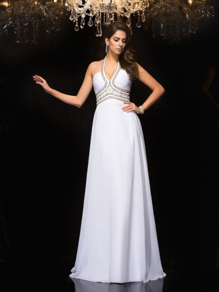 A-Line/Princess Floor-Length Halter Sleeveless Chiffon Dresses