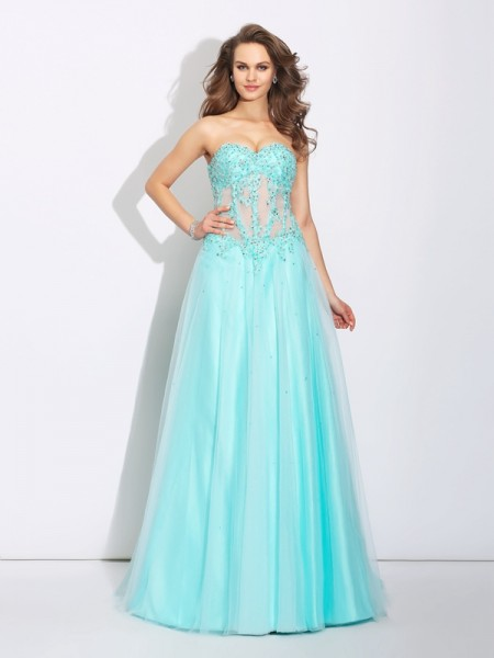 A-Line/Princess Lace Sweep/Brush Train Sweetheart Sleeveless Net Dresses