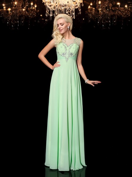 A-line/Princess Beading Floor-Length Scoop Sleeveless Chiffon Dresses