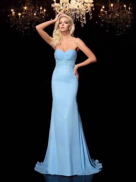 Trumpet/Mermaid Rhinestone Sweep/Brush Train Sweetheart Sleeveless Chiffon Dresses