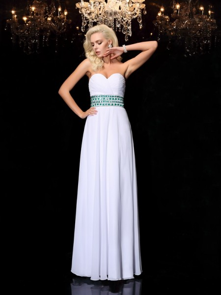 A-line/Princess Rhinestone Floor-Length Sweetheart Sleeveless Chiffon Dresses
