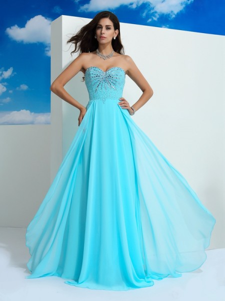 A-Line/Princess Beading Floor-Length Sweetheart Sleeveless Chiffon Dresses