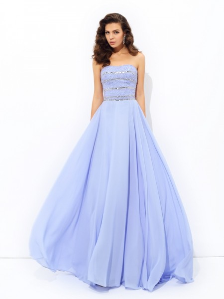 A-line/Princess Beading Sweep/Brush Train Strapless Sleeveless Chiffon Dresses