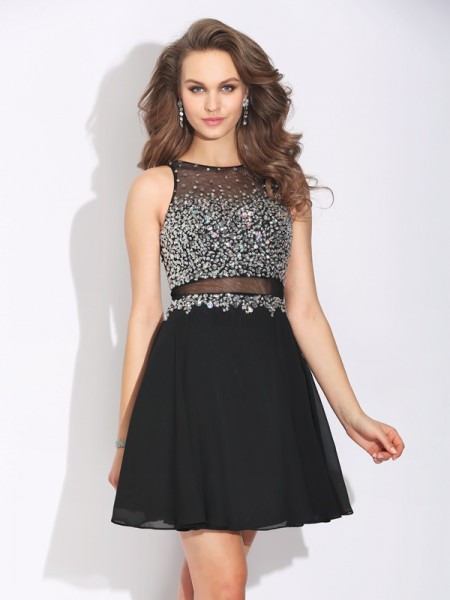 A-Line/Princess Beading Short/Mini Jewel Sleeveless Chiffon Dresses