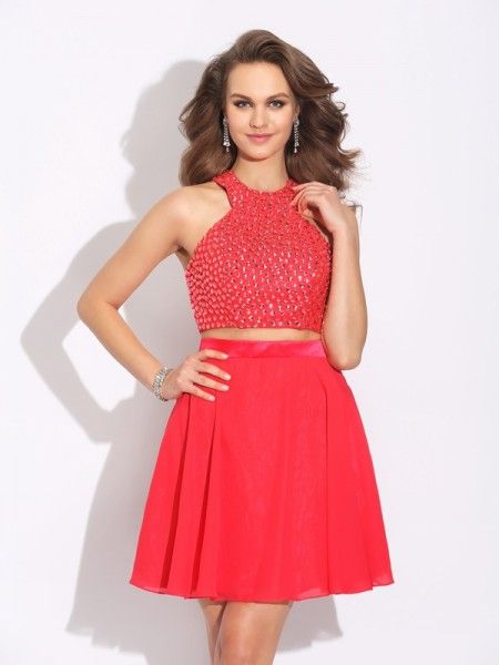 A-Line/Princess Crystal Short/Mini Jewel Sleeveless Chiffon Dresses