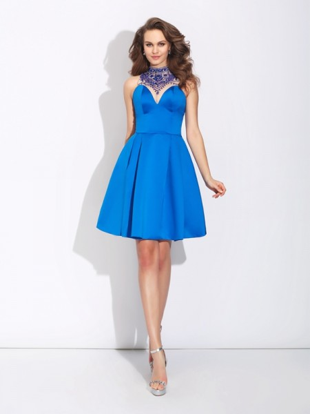 A-Line/Princess Beading Short/Mini High Neck Sleeveless Satin Dresses