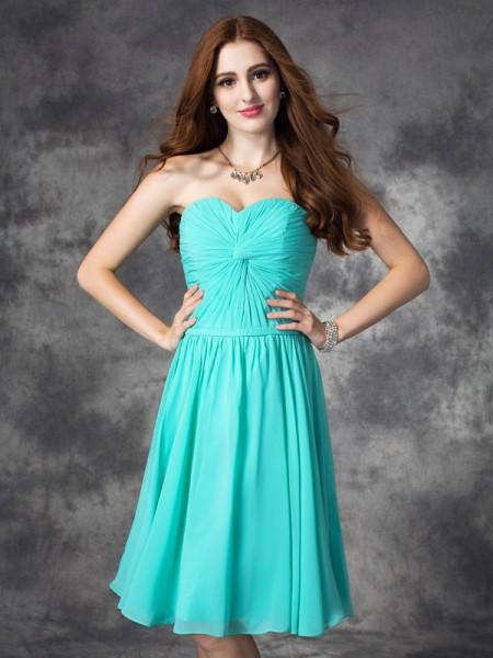 A-line/Princess Ruffles Knee-Length Sweetheart Sleeveless Chiffon Dresses