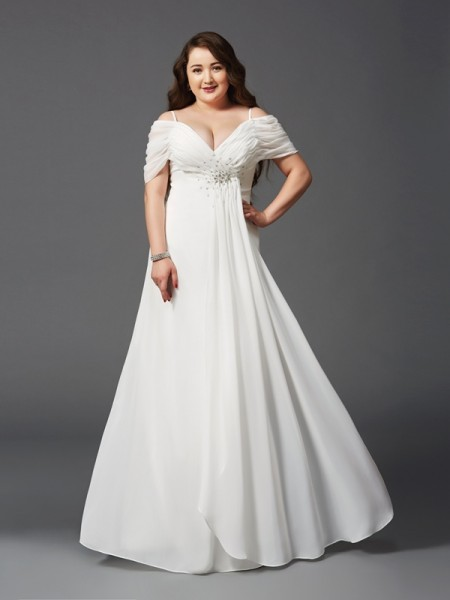 A-Line/Princess Ruched Floor-Length Off-the-Shoulder Short Sleeves Chiffon Dresses