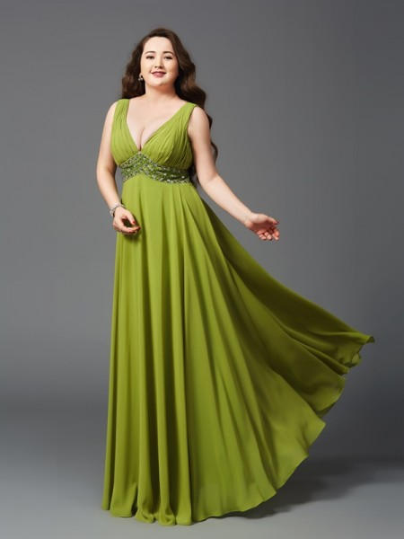 A-Line/Princess Rhinestone Floor-Length Straps Sleeveless Chiffon Dresses