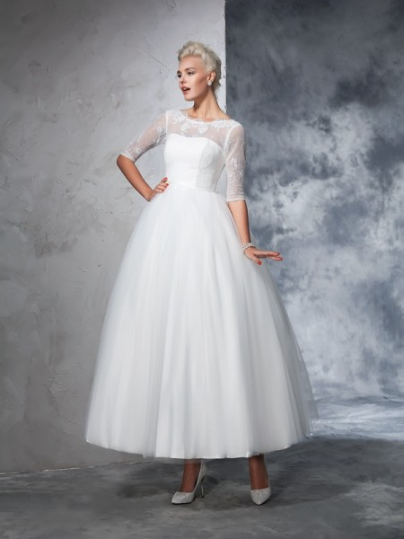Ball Gown Lace Ankle-Length Bateau 1/2 Sleeves Net Wedding Dresses