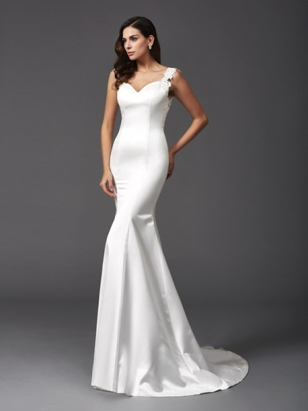 Trumpet/Mermaid Beading Sweep/Brush Train Straps Sleeveless Satin Wedding Dresses