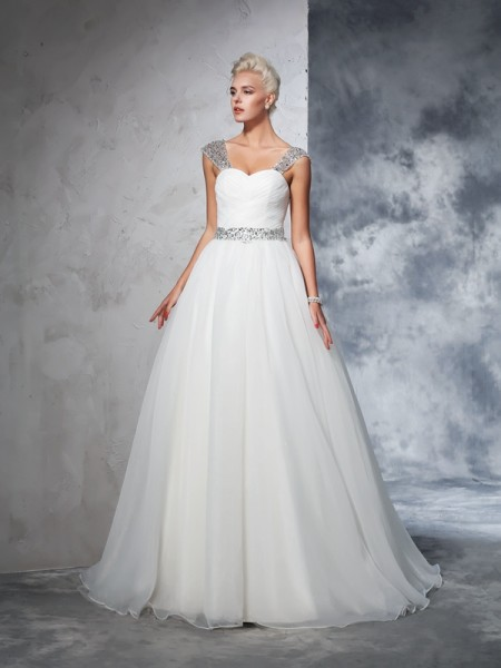 Ball Gown Ruched Chapel Train Straps Sleeveless Net Wedding Dresses