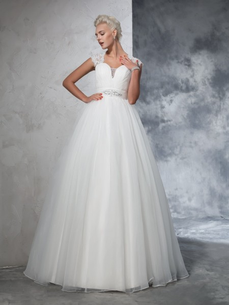 Ball Gown Ruched Sweep/Brush Train Sweetheart Sleeveless Tulle Wedding Dresses