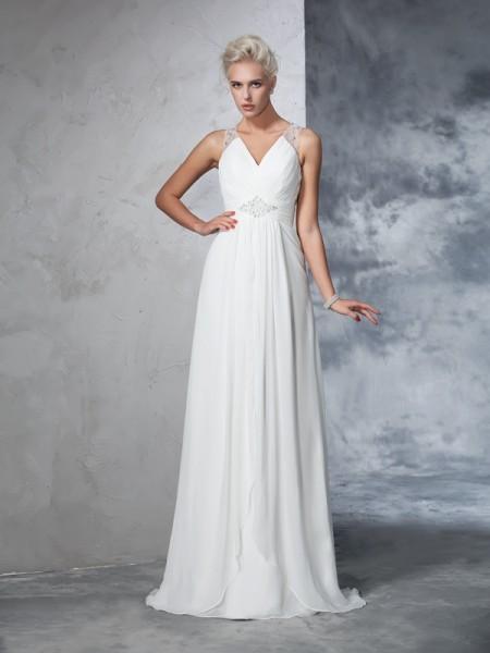 A-Line/Princess Ruched Sweep/Brush Train V-neck Sleeveless Chiffon Wedding Dresses