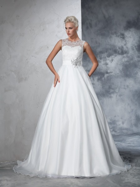 Ball Gown Lace Chapel Train Sheer Neck Sleeveless Net Wedding Dresses