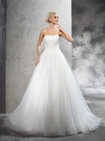 Ball Gown Applique Court Train Strapless Sleeveless Satin Wedding Dresses