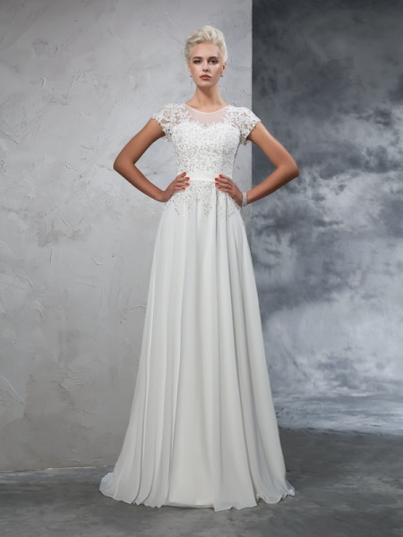 A-Line/Princess Applique Sweep/Brush Train Sheer Neck Short Sleeves Chiffon Wedding Dresses