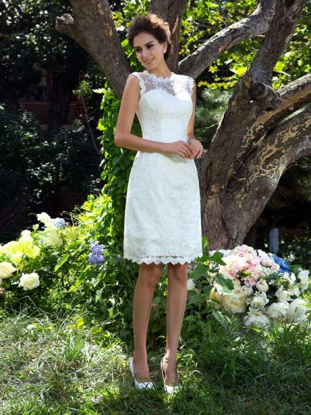 A-Line/Princess Applique Knee-Length Sheer Neck Sleeveless Satin Wedding Dresses
