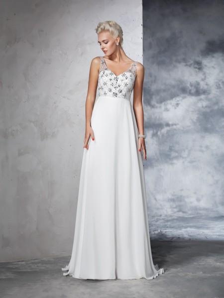 A-Line/Princess Beading Sweep/Brush Train V-neck Sleeveless Chiffon Wedding Dresses