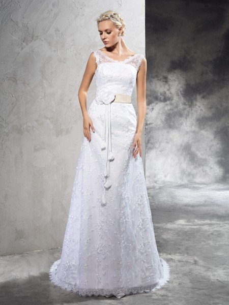 Sheath/Column Hand-Made Flower Court Train Sheer Neck Sleeveless Satin Wedding Dresses