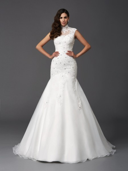 Trumpet/Mermaid Beading Sweep/Brush Train High Neck Sleeveless Organza Wedding Dresses