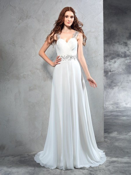 A-Line/Princess Pleats Sweep/Brush Train Sweetheart Sleeveless Chiffon Wedding Dresses