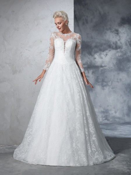 Ball Gown Lace Court Train Jewel Long Sleeves Lace Wedding Dresses