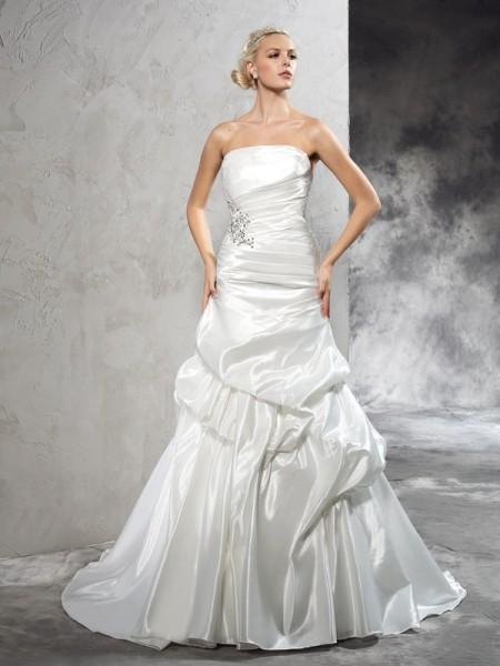 Sheath/Column Pleats Court Train Strapless Sleeveless Satin Wedding Dresses