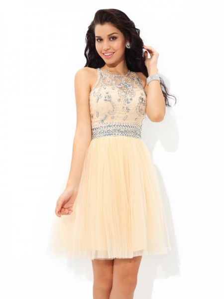 A-Line/Princess Beading Short/Mini Sheer Neck Sleeveless Net Cocktail Dresses