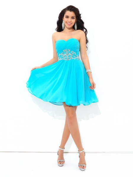 A-Line/Princess Pleats Short/Mini Sweetheart Sleeveless Chiffon Cocktail Dresses
