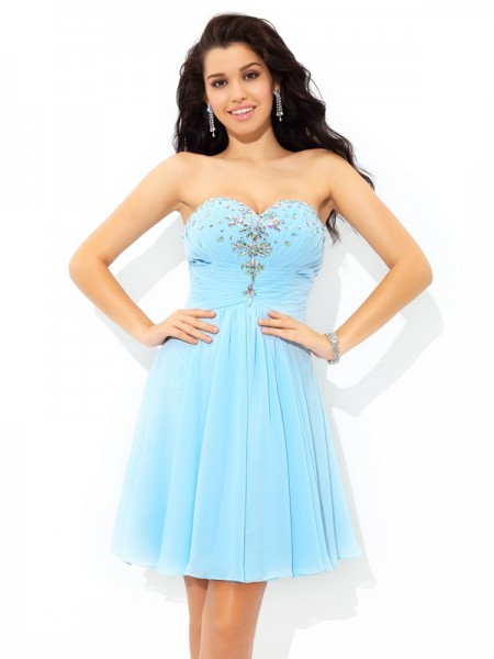 A-Line/Princess Beading Short/Mini Sweetheart Sleeveless Chiffon Cocktail Dresses