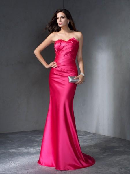 Trumpet/Mermaid Sweep/Brush Train Sweetheart Sleeveless Satin Dresses