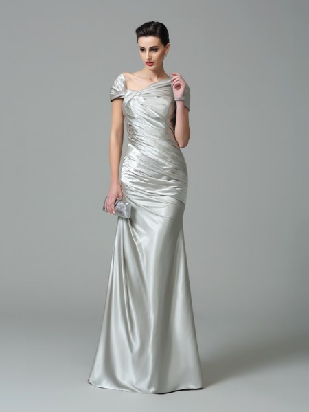 Sheath/Column Pleats Floor-Length Off-the-Shoulder Sleeveless Silk like Satin Dresses