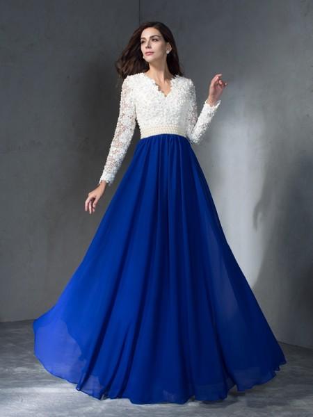 A-Line/Princess Floor-Length V-neck Long Sleeves Chiffon Dresses