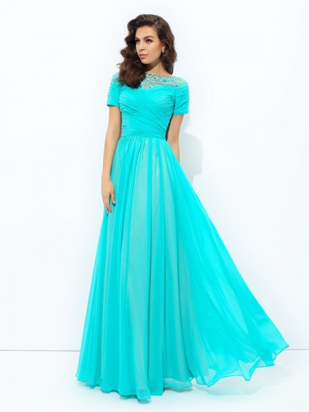 A-line/Princess Lace Floor-Length Bateau Short Sleeves Chiffon Dresses