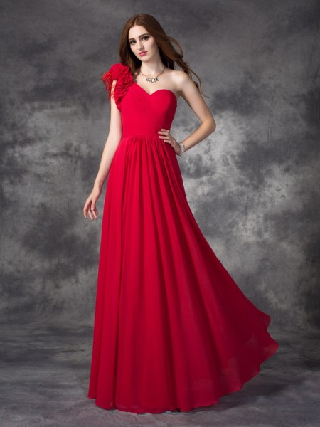A-line/Princess Hand-Made Flower Floor-length One-Shoulder Sleeveless Chiffon Dresses