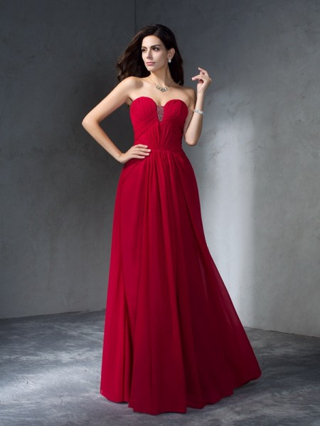 A-Line/Princess Pleats Floor-Length Sweetheart Sleeveless Chiffon Dresses