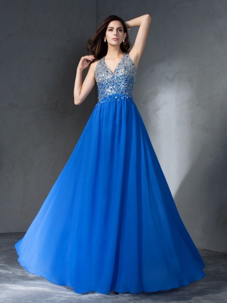 A-Line/Princess Beading Floor-Length V-neck Sleeveless Chiffon Dresses