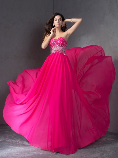 A-Line/Princess Beading Sweep/Brush Train Sweetheart Sleeveless Chiffon Dresses