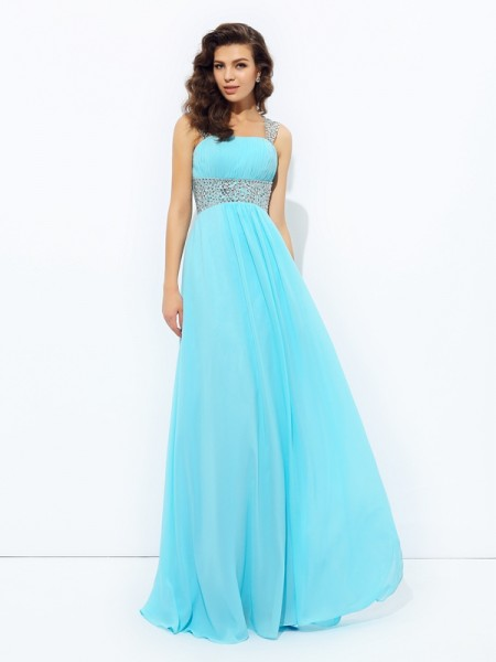 A-line/Princess Sequin Floor-Length Straps Sleeveless Chiffon Dresses
