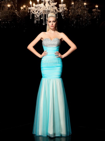 Sheath/Column Sequin Floor-Length Sweetheart Sleeveless Net Dresses