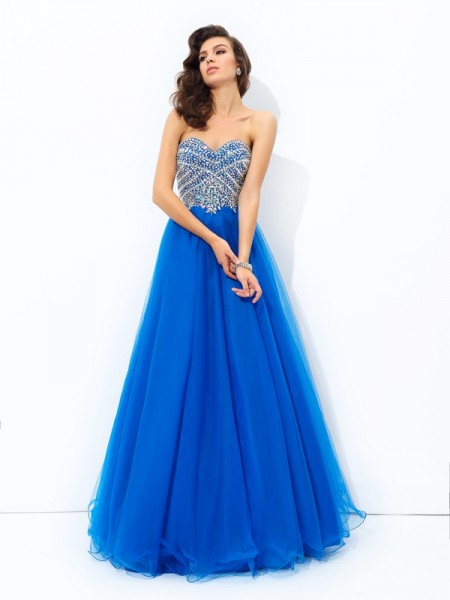 A-line/Princess Sequin Floor-Length Sweetheart Sleeveless Net Dresses