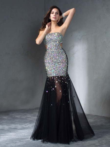 Sheath/Column Sequin Floor-Length Strapless Sleeveless Satin Dresses