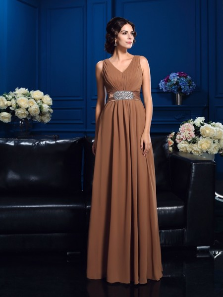 A-Line/Princess Pleats Floor-Length V-neck Sleeveless Chiffon Mother of the Bride Dresses