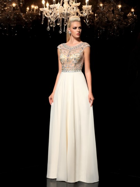 A-Line/Princess Floor-Length Sleeveless Rhinestone Sheer Neck Chiffon Dresses