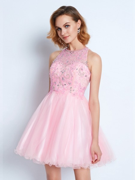 A-Line/Princess Short/Mini Sleeveless Ruffles Jewel Net Dresses