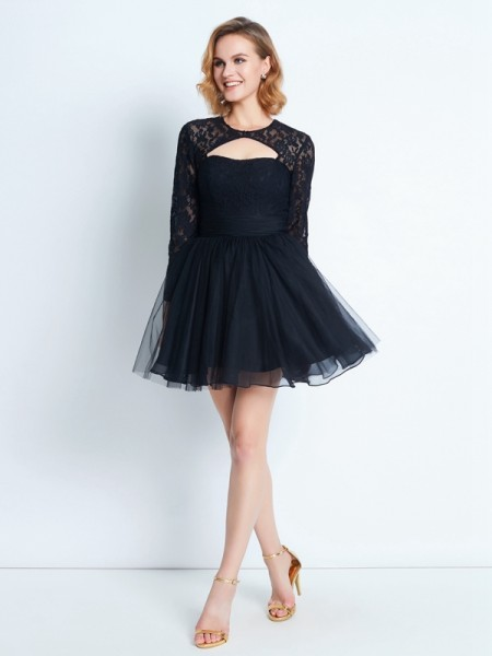 A-Line/Princess Short/Mini Long Sleeves Lace High Neck Net Dresses